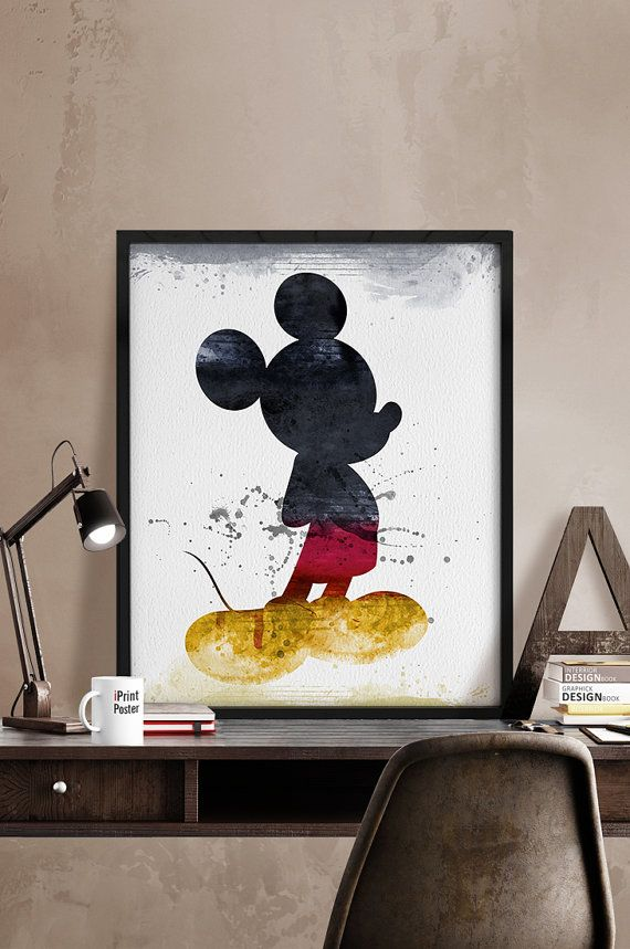 WATERCOLOR Mickey Mouse, watercolor poster, Watercolor Mickey, Disney poster, Disney watercolor, Wall art, Artwork, Comic poster, Home Decor