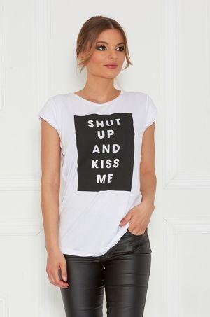Tričko s krátkym rukávom, okrúhlym výstrihom, s potlačou