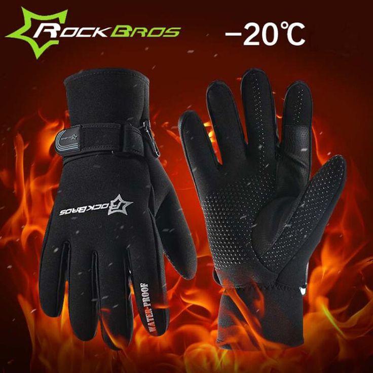 Rockbrosスーパー暖かいサイクリング手袋男性フルフィンガー熱フリースコットン冬バイク自転車スポーツ手袋アクセサリーH6114