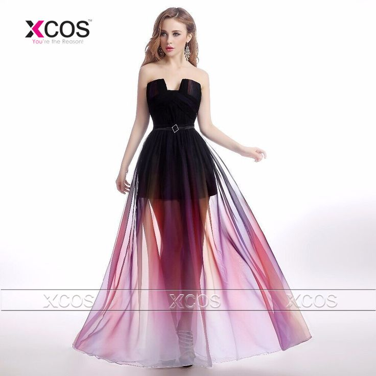Beautiful Graduation Dresses See Through Long Prom Party Dress Ombre Gradient Evening Gowns Mezuniyet Elbiseleri SA447