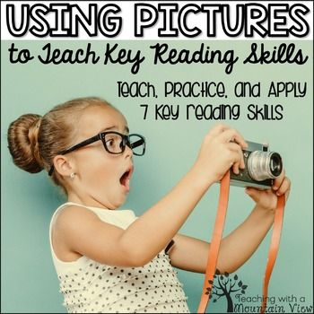 Teach and review reading skills using pictures AND teach students how to apply their skills to short reading passages!  With these 35 printable pages, students will have the opportunity to observe a picture and make inferences, ask questions, make predictions, etc., practice a reading skill based on the picture, and apply the reading skill to a short passage.