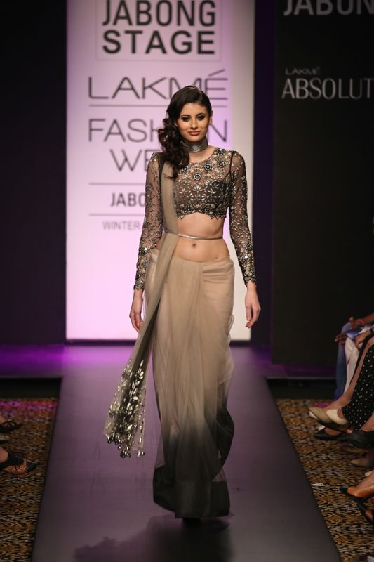 Arpita Mehta Black & Nude Ombre #Saree At Lakme Fashion Week 2014. Love The Lace #Blouse!