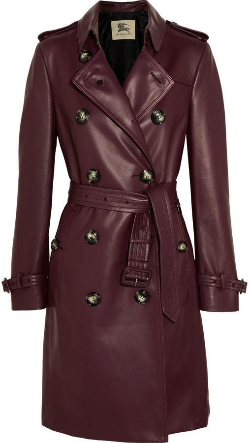 Burberry London Kensington leather trench coat