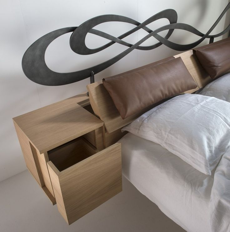 Double bed with storage headboard CUBO - Barel