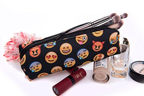 Emoji Printing Zipper Pencil Cosmetic Maquillage Toiletry Crayon Makeup Organizer Case Bag Holder Material: Cotton+Polyester Slim design fits anywhere. Excellent quality of the material and printing. Dimensions: width approx. 20 cm, height approx. 5 cm Very wide range of uses: pencil case, phone pouch, pouch for jewellery, sunglasses and other accessories