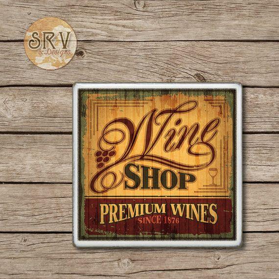 ON SALE Wine Coaster, Vintage Wine Shop Label Handmade Design, Ceramic Tiles, Beer Coaster(s), Coffee Coaster, Housewarming Gift, Made To Or