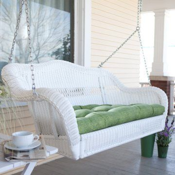Casco Bay Resin Wicker Porch Swing with Optional Cushion