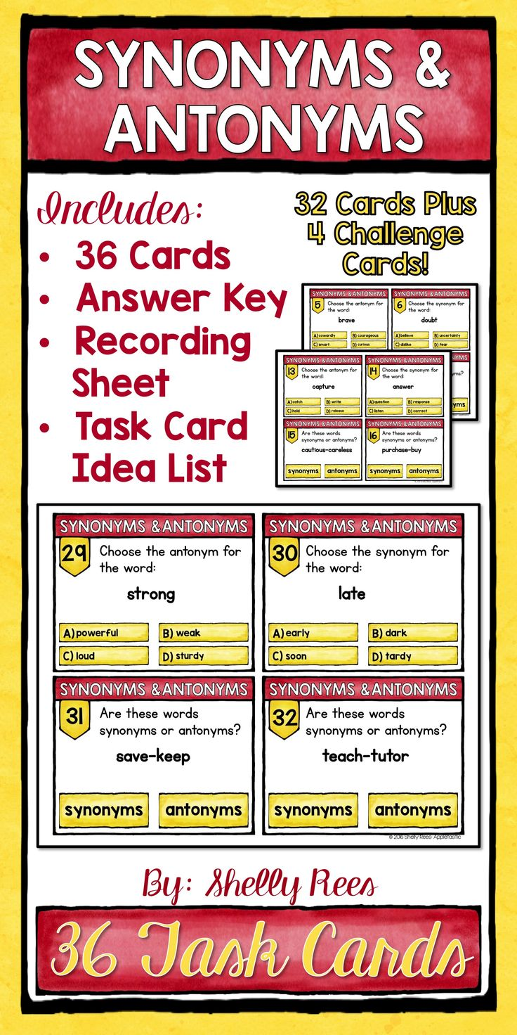 Worksheet Antonyms For Deep 1000 ideas about synonyms and antonyms on pinterest speech synonym antonym activity task cards love these for practicing antonyms