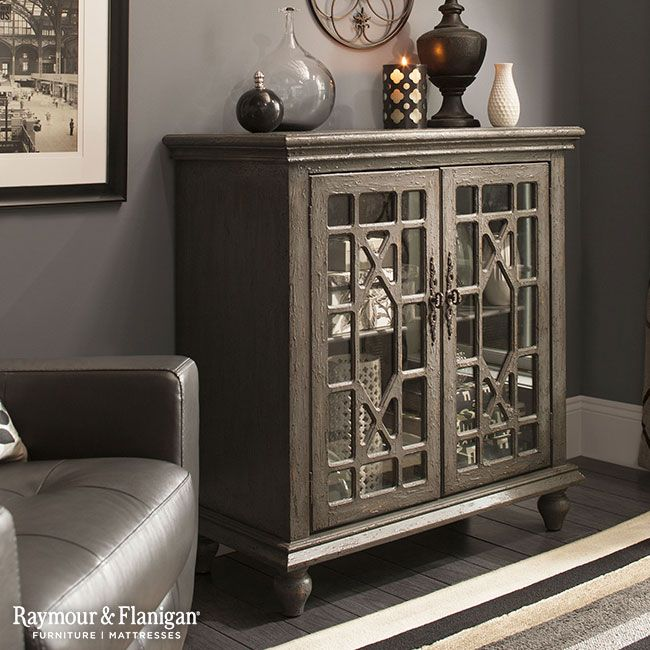 The Weathered Painted Gray Finish And Antiqued Brass Finished Hardware Of This Sullivan Accent Cabinet Give Versatile Piece Timeless Appeal