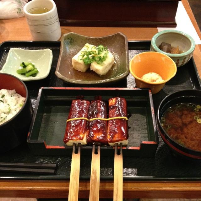 "Vegetarian dinner-""dengaku"" (Tofu steak w/miso sauce)"