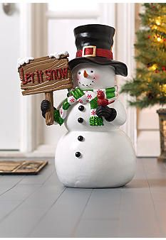 """Home Accents® Oh, What Fun! Snowman with """"Let It Snow"""" Sign"""