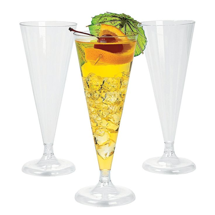 """Clear Champagne Flutes -These Clear Champagne Flutes are perfect for any celebration! Make sure everyone has their own 6-oz. plastic champagne flutes and make a toast at a wedding reception or any elegant occasion! Pour the bubbly or a non-alcoholic drink, and enjoy! $12.50 (25 pcs. per unit) 6 1/2"""" Simple assembly required. OrientalTrading.com"""