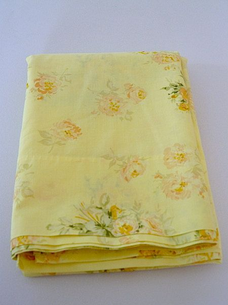 YELLOW bed sheet with shabby cottage chic yellow by sassycotton