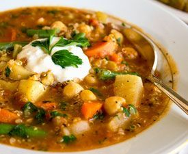 Vegan Quinoa Garbanzo Bean Italian Vegetable Soup - w/celery, onion, garlic, turnip or potato, carrots, green beans, plum tomatoes, vegetable stock, Italian seasonings. Delicious & satisfying with Focaccia Bread.