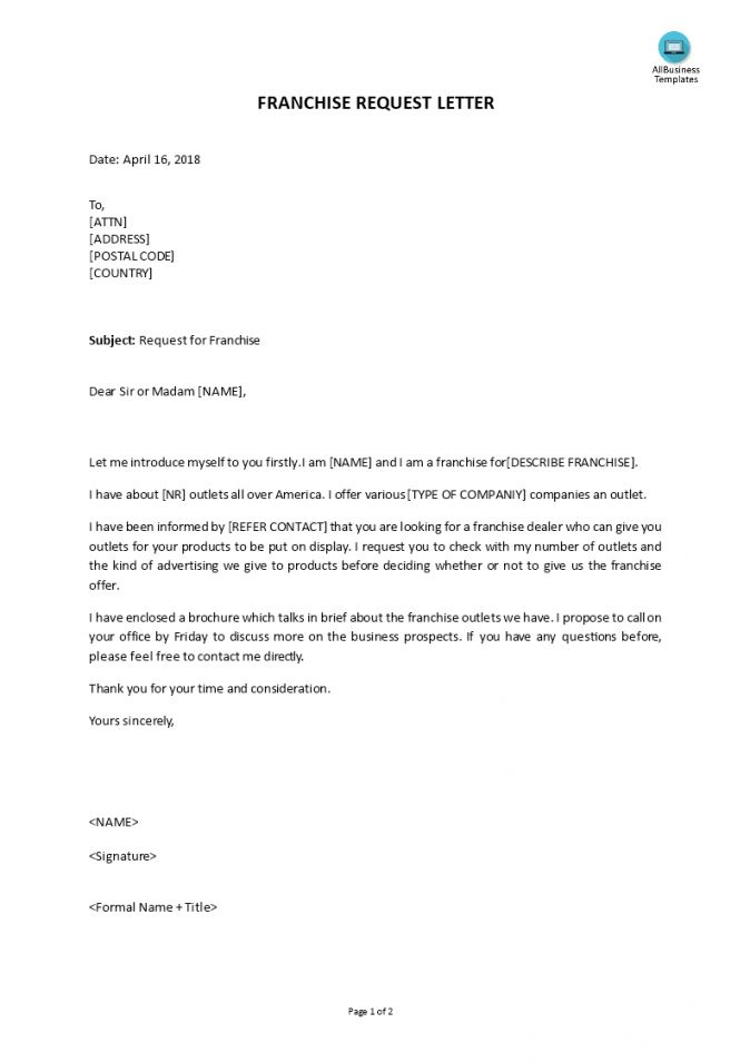 Here The Telecharger Franchise Request Letter Franchise Agreement