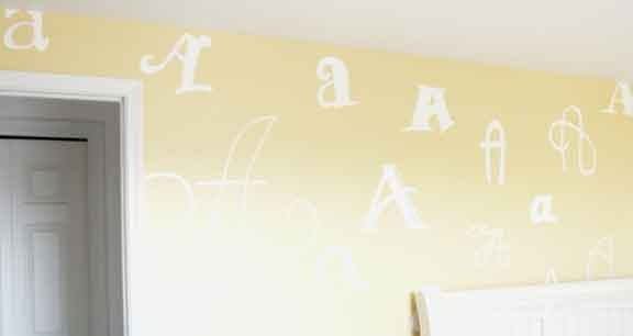 """An entire wall filled with different type styles for my daughter's name which begins with """"A"""" (as if that wasn't obvious!)"""