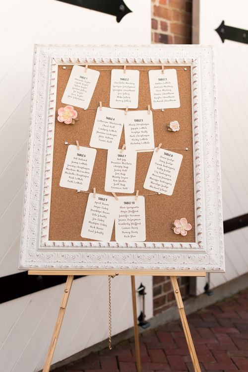 Corkboard seating chart for rustic wedding - Yorktown Freight Shed