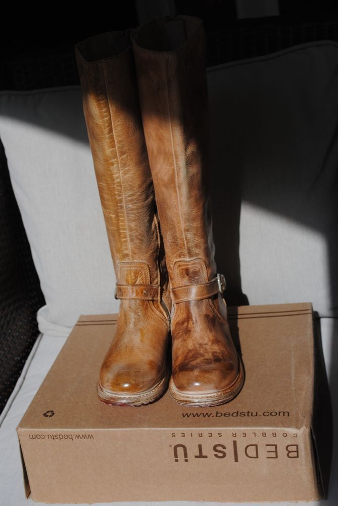 NWOB BEDSTU GLAYE Tan Rustic /White Women's Equestrian Riding Boots Size 8 #BeD #RidingEquestrian
