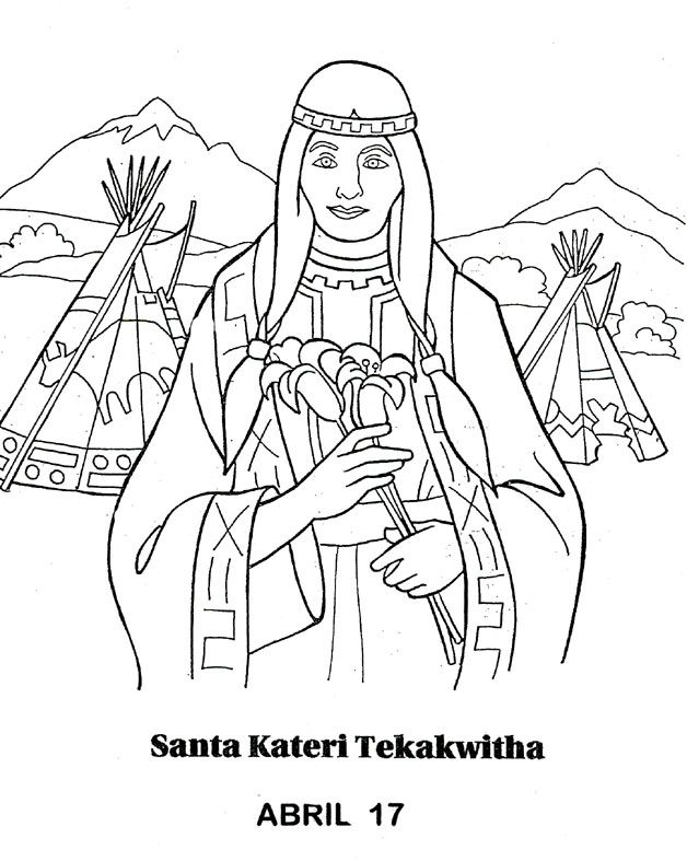 13 best images about st kateri unit study on pinterest for St kateri coloring page