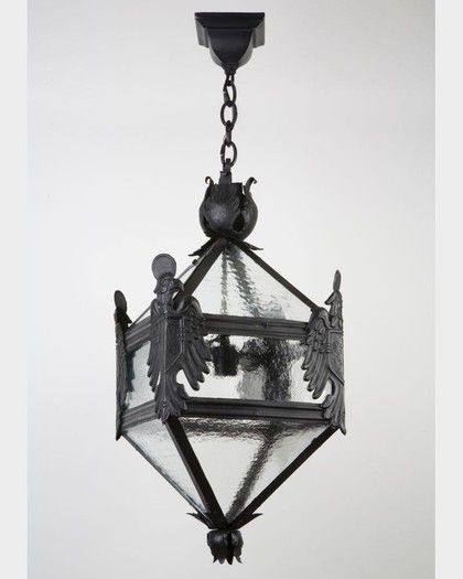 A Four Sided Lantern In Darkened Iron From The Jacksonville Florida Estate Of Alfred
