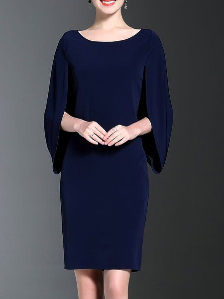 Shop Midi Dresses - Royal Blue Solid H-line Crew Neck Simple Midi Dress online. Discover unique designers fashion at StyleWe.com.