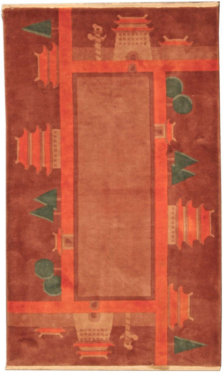 Vintage Rugs: Vintage Rug Chinese Art Deco  for modern or oriental interior decor living room,