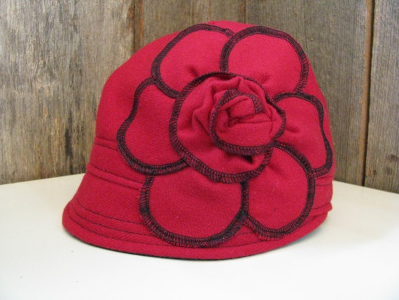 Red Crimson Wool Cloche Hat Cap with Flower size 23 by sugarsoul, $75.00