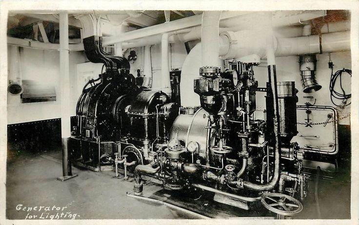 Vintage Real Photo PC; Ship Generator for Lighting aboard Navy Ship WWI era?