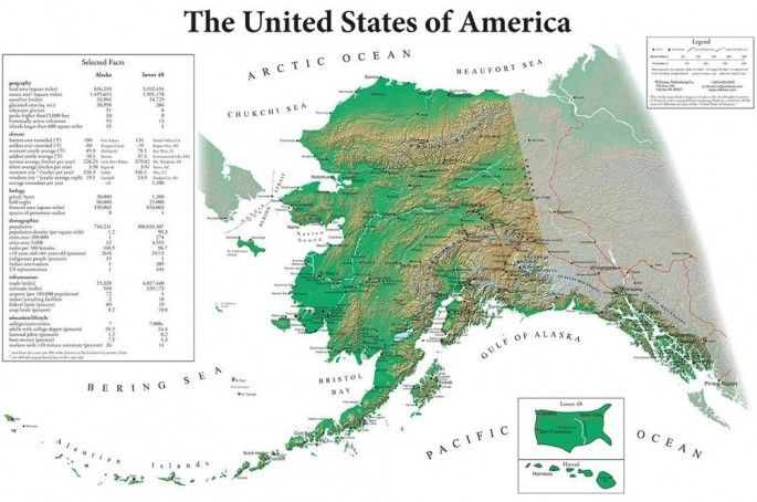 US Map from Alaska's Perspective