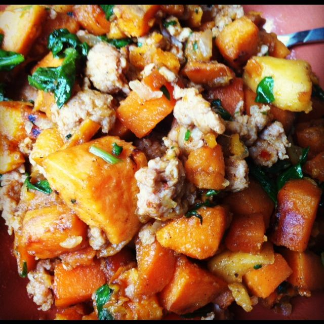 Sweet Potato, Sausage, and Spinach Hash | Recipes to try | Pinterest