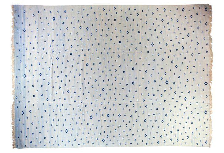 Blue And White Vinatge Cotton Diamond Dhurrie 10 X 14