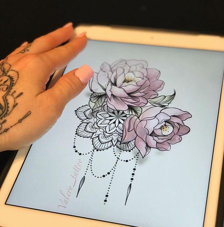 Valery Tattoo Artist on Instagram: #mandala #mandalatattoo #pioniestattoo #pivoins #femininetattoo #delicatetattoo