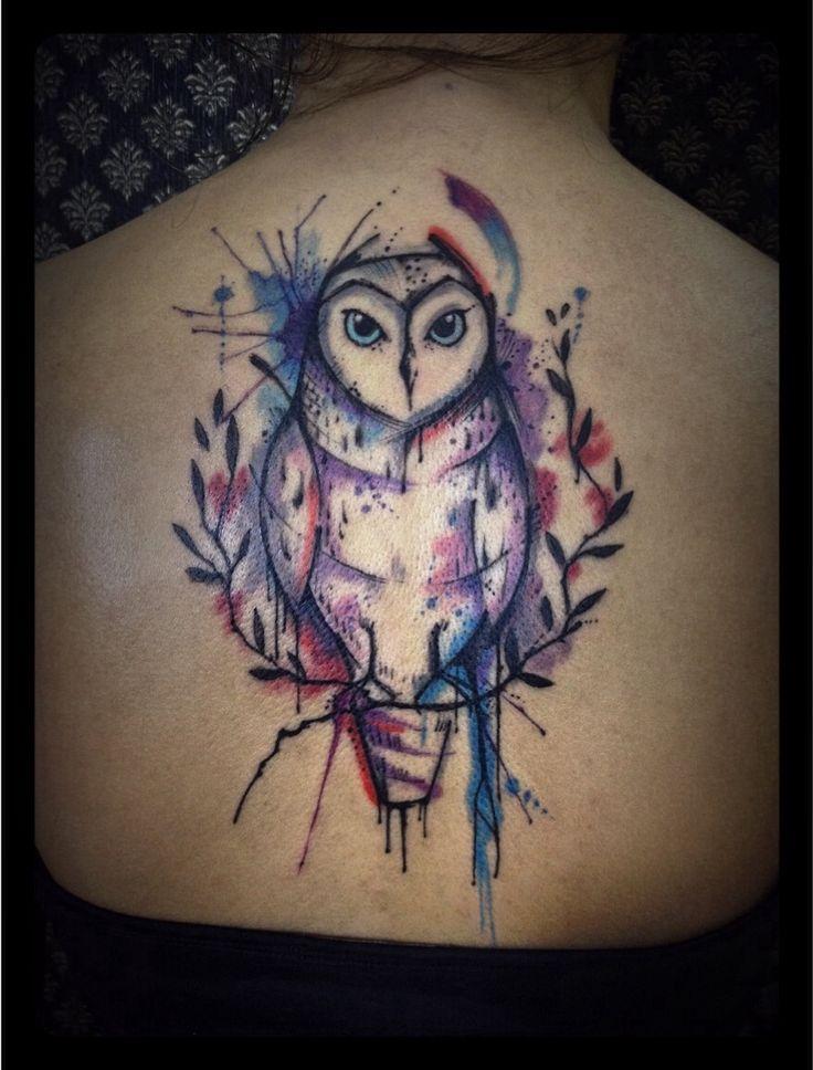 Watercolor owl  Tattoo by Tyago Compiani in El Cuervo ink -cwb-Brazil
