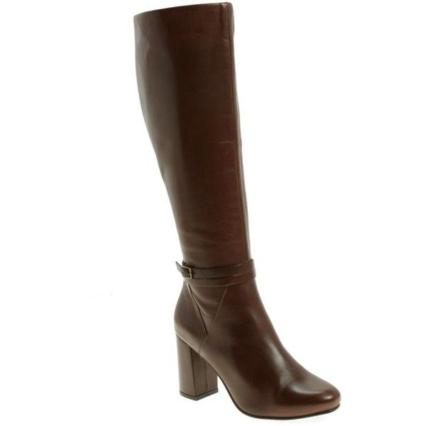 Women's Seychelles Ovation Knee High Boot ($230) ❤ liked on Polyvore featuring shoes, boots, dark brown leather, round toe boots, block heel knee high boots, over-knee boots, seychelles boots and dark brown boots