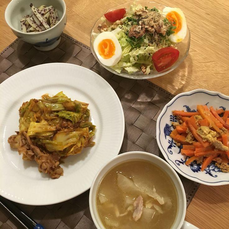 1/29 #回鍋肉 #にんじんしりしり #ジャガイモのゆかり和え #大根のエスニックスープ #野菜サラダ