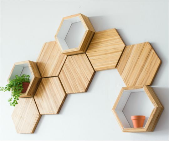 Recycled Bamboo Chopsticks Honeycomb Wall Tiles, Shelving and Tables by Chop Value on Etsy