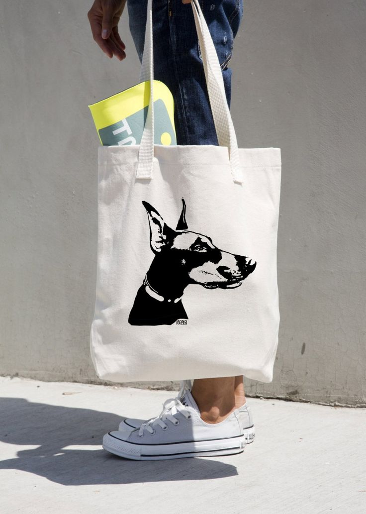 Doberman Pinscher Canvas Tote Bag, Custom Doberman Gifts, Reusable Shopping Bag, Personalised Tote Bag, Customised Dog Walker Gift by MONOFACESoADULT on Etsy