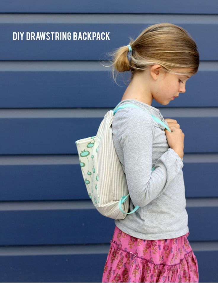 Sweet drawstring backpack. Perfect for little girls. Change up the fabric and make for little guys.