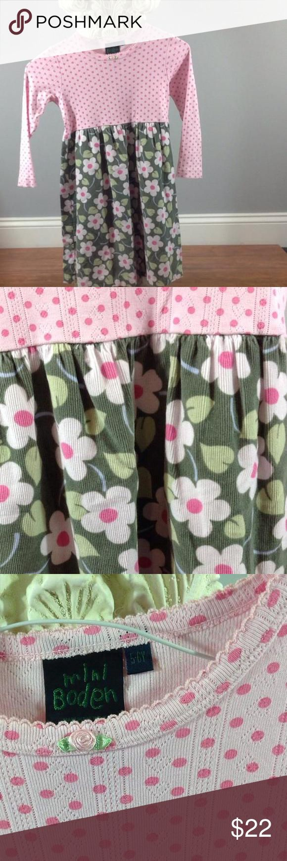 Mini Boden dress 5-6y Like new pink polka dot and green floral dress. Mini Boden Dresses