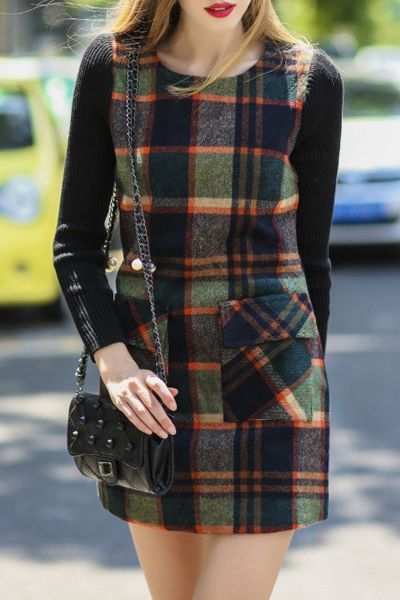 Spliced Plaid Long Sleeves Sweater Dress