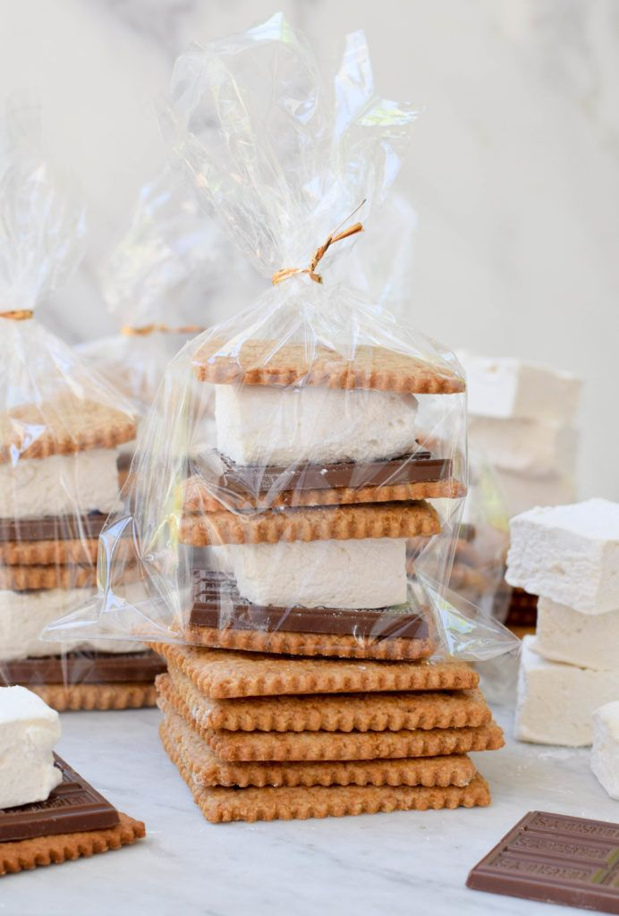 DIY S'mores Kits with homemade graham crackers and marshmallows. Fun edible gift for summer!