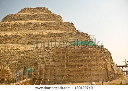 Saqqara scaffoldings. Restoration works at Saqqara Pyramid of Djoser, Egypt