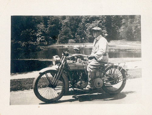 Ray Martinet on Indian Motorcycle, 1915