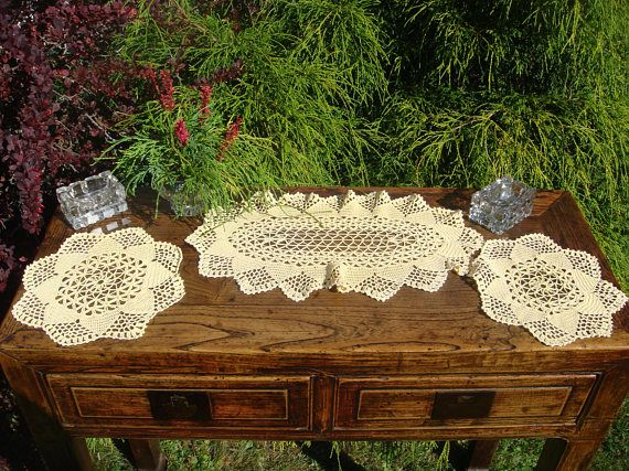 Vintage Set of 3  Delicate Crochet Summer Yellow Dressing