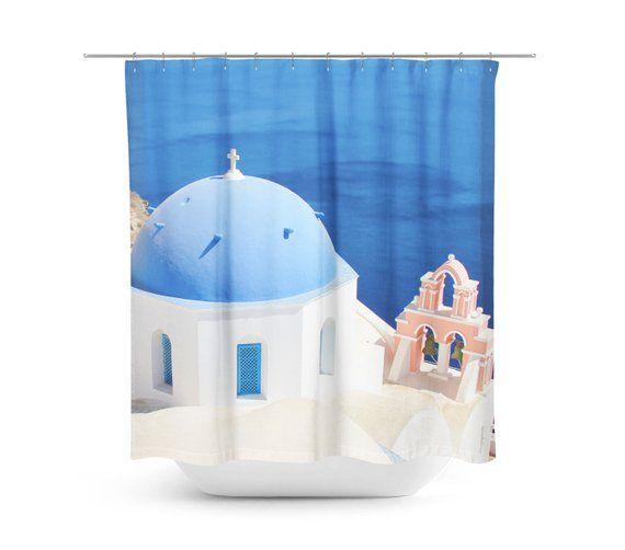 Greek Shower Curtain Pink And Blue Decor Sanorini Greece