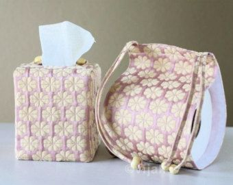 Beautiful floral bath accessory set by vijako on Etsy