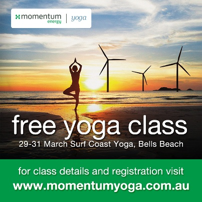 Free yoga class at Bells Beach as part of the Rip Curl Pro! Register at momentumyoga.com.au