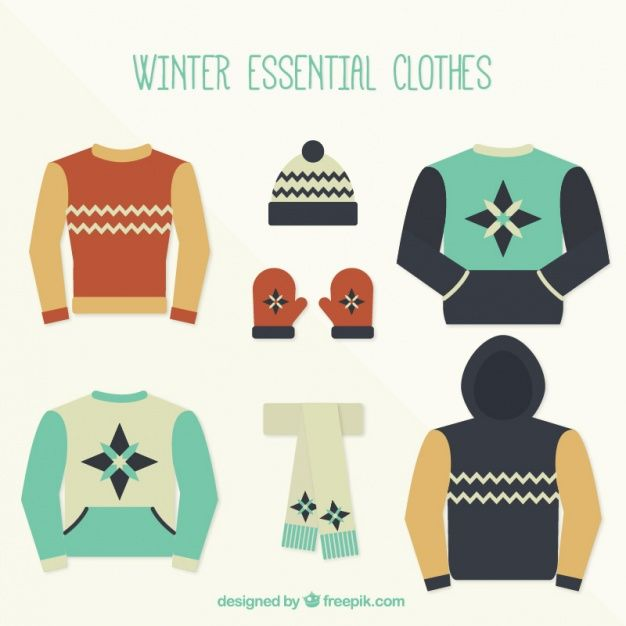 Set of cute winter clothes in flat design Free Vector