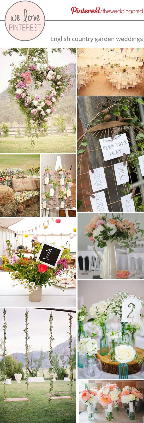 English Country Garden Wedding Decorations and Ideas...like the grapevine heart!