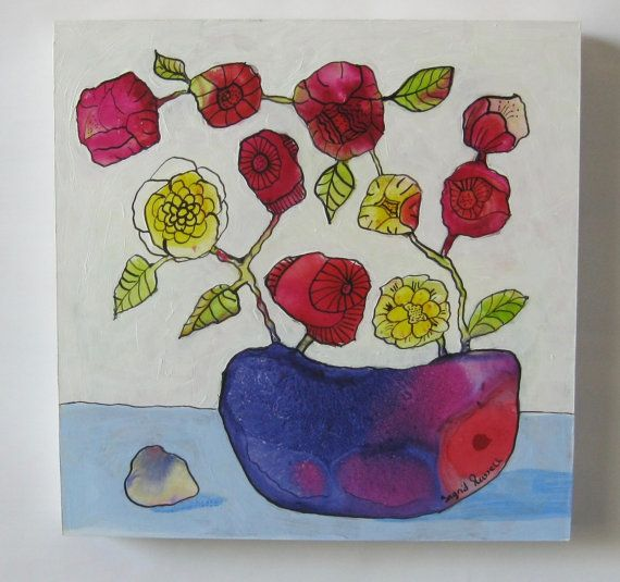 Bowl of Roses painting acrylics inks small by IggirussDesigns